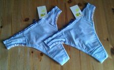2 pairs thongs size M 10-12 Bnwt with dark blue crossover ribbon detail to back