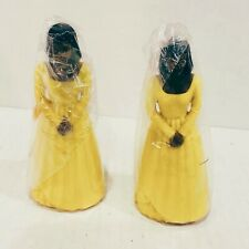 Vintage Lot 2 Bridesmaids Wedding Cake Toppers African American Yellow Dress