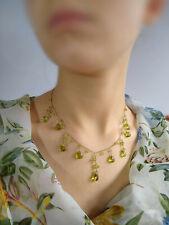 PERIDOT 14K SOLID GOLD BRIOLETTE GENUINE GEM GEMSTONE Necklace