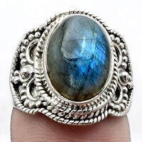 Blue Labradorite - Madagascar 925 Sterling Silver Ring s.6.5 Jewelry 9232