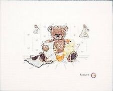 Popcorn And Souffle Teddy Bear Counted Cross Stitch Kit