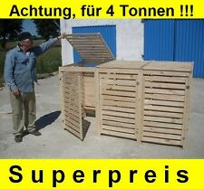 Mülltonnenbox Müllbox für 4 Tonnen  Müllcontainer Massivholz NEU ANGEBOT