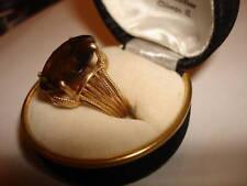 VTG Rare Huge 14k Yellow Gold Smokey Quartz  Ring 7