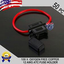 50 Pack 12 Gauge ATC In-Line Blade Fuse Holder 100% OFC Copper Wire Protection