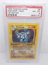 1999 Pokemon Base Set 1st Edition MACHAMP Holo Card 8/102 PSA 8 - FREE SHIPPING
