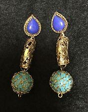Faux Gold Semi Precious Turquoise Jade Blue Earrings Indian Pakistani Jwellery