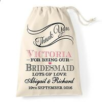 Personalised vintage thank you wedding favour bag maid of honour/bridesmaid gift