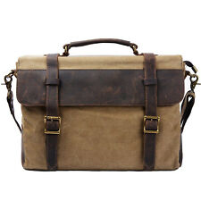 Men's Canvas 15.6 '' Laptop Briefcase Messenger Shoulder Bag Handbag School Bag
