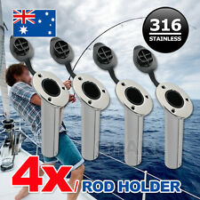 4x 316 Marine Grade Stainless Steel Flush Mount 30 Degree Fishing Rod Holders