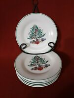 """Gibson Christmas Tree with Packages China 6 Dessert/Salad Plates 7.25"""" D"""