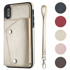 For iPhone 12 11 XS XR 8 Phone Case Leather Card Buckle Wallet Flip Strap Cover