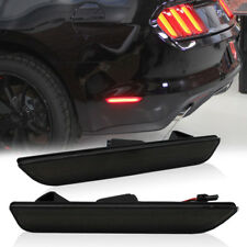 1Pair Black Lens Rear Side Marker Lamps w/Red LED Lights For 10-14 Ford Mustang