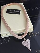 Ladies Designer Rose Gold Necklace Diamanté Heart Pendant Jewellery Gift UK