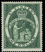 "ST. VINCENT 196 (SG199) - QEII ""Seal of the Colony"" 1955 Dull Green (pa48810)"