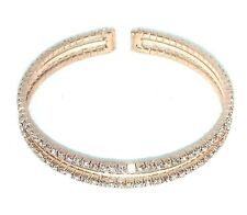Stunning Rose Gold Sparkly Crystal Double Row Encrusted Bangle