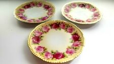 New listing Porcelain Set Of 3 Plates Gorgeous Prussia Pink Ruby Roses Design Decorative