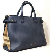 Burberry Medium Navy Leather Banner Tote Handbag