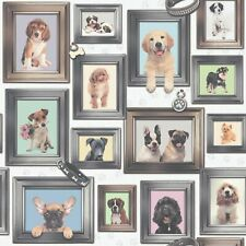 Rasch Puppy Love Dogs In Frames Pattern Picture Frame Motif Wallpaper
