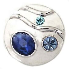Silver Blue Rhinestones 20mm Snap Charm Interchangeable for Ginger Snaps