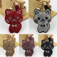 Women Girls Kawai Keychain Cartoon Cat Bag Pendant Key Ring Crystal Tassel Gift