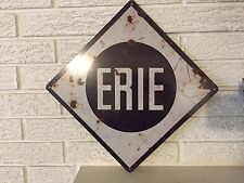 "Antiqued Erie RailRoad Aluminum Fallen Flag Train Sign New 14""x 14"""