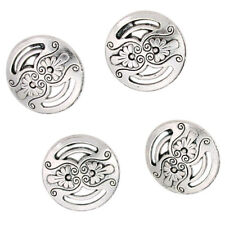 50pcs Antique Silver Tone Flower Carved Hollow Alloy Buttons Charms Fit Sewing D