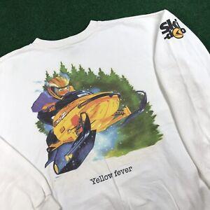 VTG 90S Ski Doo Bombardier MXZ Yellow Fever Snowmobile Racing Sweatshirt Mens L