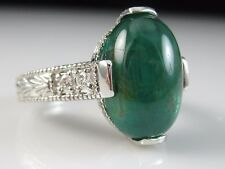 Platinum Emerald Diamond Ring Cabochon Green 8.37ctw Estate Vintage Style $10500