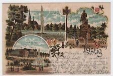 AK Gruss aus Leipzig Litho 1900