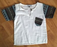 Boys Handmade Top Age 2-3years.short Sleeves.white With Multi-coloured Sleeves