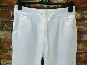 BNWT NEXT NEW Ladies white wide leg linen blend trousers elasticated  waist P