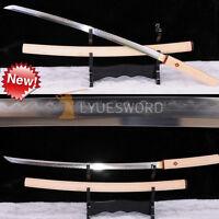 JAPANESE SAMURAI SHIRASAYA SWORD KATANA FOLDED STEEL CLAY TEMPERED SHARP BLADE