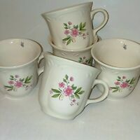 Pfaltzgraff Coffee Cups Meadow Lane Set Of 5 Made in USA Pink Flowers Scalloped