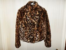 2b Bebe Faux Fur Leopard Animal Print Jacket Coat Womens Small - Awesome!