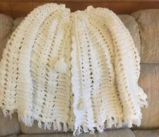 Vintage Hand Crocheted Shawl, White, Tie Closure, One Sz Fits All