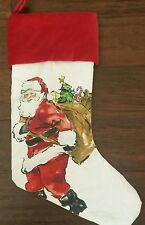 New Pottery Barn No Monogram Painted Santa Christmas Stocking