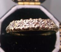 Women's 9ct Gold Diamond Stone Ring Weight 1.4g Size L 1/2 Stamped Quality