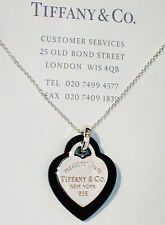 Tiffany & Co Return To Tiffany Silver Double Heart Black Onyx 16 Inch Necklace
