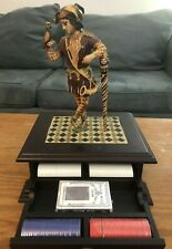 Joker's Wild Wooden Poker Box- Includes Chip and Cards