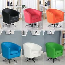 DESIGNER LEATHER SWIVEL TUB CHAIR ARMCHAIR DINING LIVING ROOM OFFICE RECEPTION