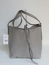 NEW Michael Kors Junie Pearl Grey Leather Large Messenger Shoulder Bag