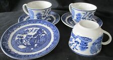THREE (3) JOHNSON ENGLAND BLUE WILLOW COFFEE CUP & SAUCER DEMITASSE DUOS