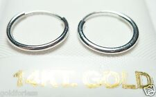 14Kt Pure Solid White Gold 12MM Endless Hoop Earrings..... Guaranteed!