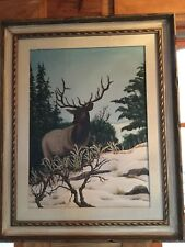 1985  Western oil painting SIGNED Lee PAINTING Stag in winter colorado