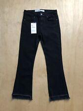 699c81d34 Zara x Z1975 Black Denim Fray Hem Mid Rise Crop Mini Flare Jeans Size 2 NWT