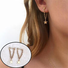 Five-pointed Star Pendant Earrings Jewelry Drop Dangle Double Chain Ear Stud