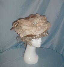 Antique Hat Victorian 1890's Tan Velvet Ivory Wool Rhinestone Trims