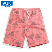 Mens Surf Board Shorts Quick Dry Swimming Trunks Beach Shorts Boats pink