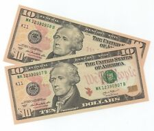 UNITED STATES $10 x 2 banknotes 2013 Mint K11 Cons Nos Unc