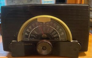 Vintage AM/FM Radio General Electric Model 408, Atomic Logo Bakelite